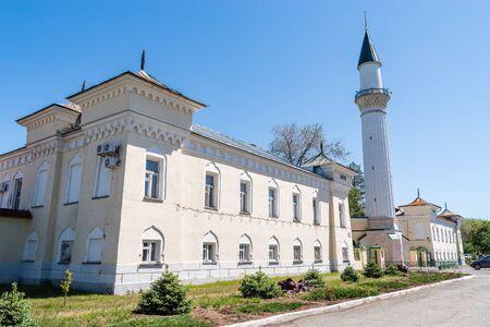 Orenburg, Russia - May, 25, 2019: Historic building with minaret. Caravanserai. Architectural monument