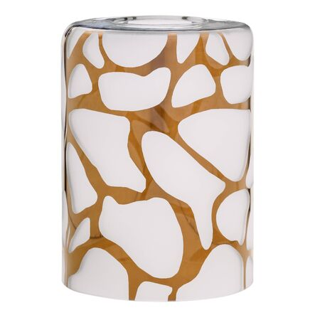 Cylindrical shade made of frosted white glass with an indefinite golden pattern for an electric lamp isolated on white background