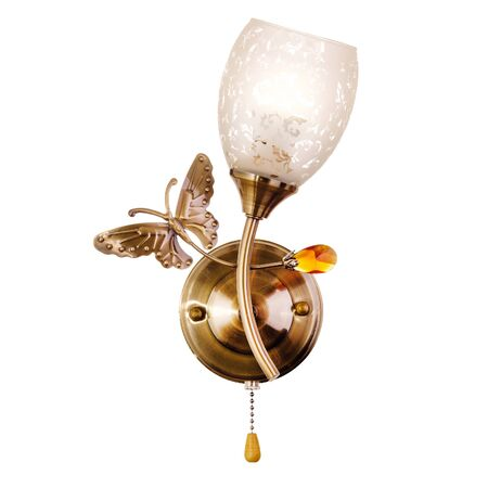 Sconce with white opaque transparent glass shade, made of golden metal. Stylish wall lamp isolated on white background