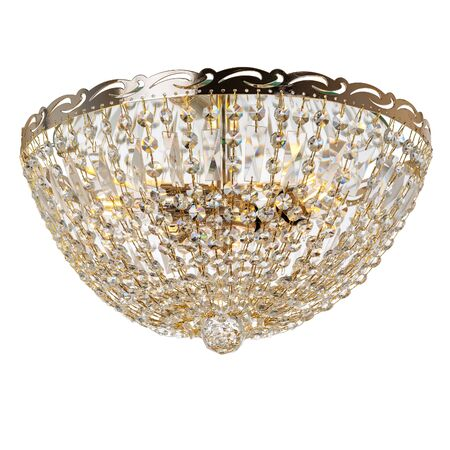 Crystal chandelier with golden metal elements. Classic style ceiling lamp isolated on white background Reklamní fotografie