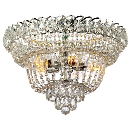 Crystal chandelier with shiny metal elements. Classic style ceiling lamp isolated on white background Reklamní fotografie