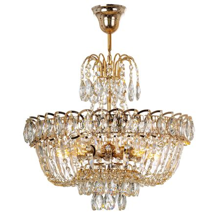Pendant crystal chandelier with golden metal elements. Classic style ceiling lamp isolated on white background Reklamní fotografie