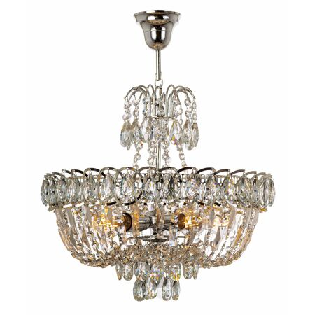 Pendant crystal chandelier with shiny metal elements. Classic style ceiling lamp isolated on white background Reklamní fotografie