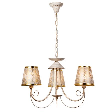 Pendant three-lamp chandelier with three fabric lampshades with golden patterns. Classic style ceiling lamp isolated on white background