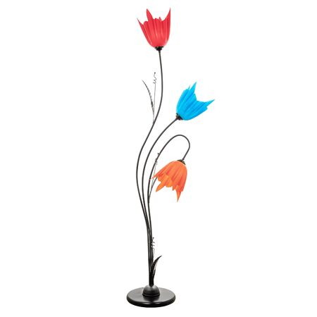 Black floor lamp with three colored tulip-shaped shades. Floor lamp in floral design isolated on white background