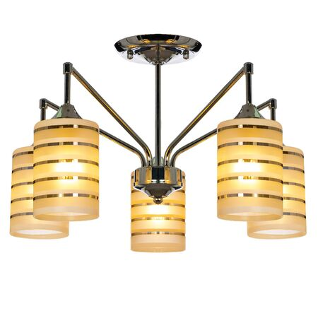 Five-lamp chandelier with five shades. Ceiling lamp isolated on white background Reklamní fotografie
