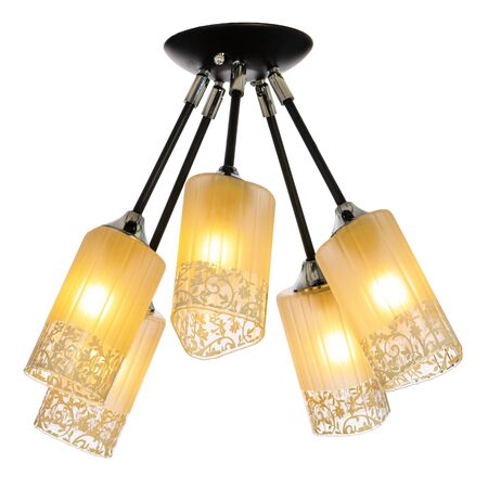 Five-lamp chandelier with five adjustable shades. Ceiling lamp isolated on white background