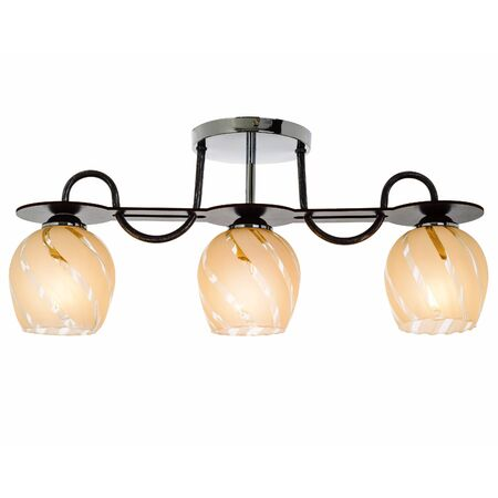 Three-lamp chandelier with three shades. Modern ceiling lamp isolated on white background