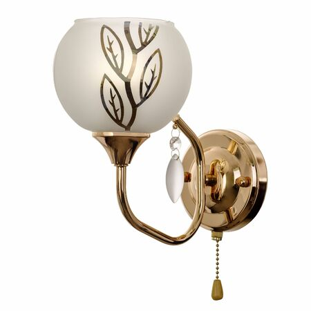 Sconce with a shade of white frosted glass with floral ornaments, made of golden metal with a crystal pendant. Stylish wall lamp isolated on white background 写真素材
