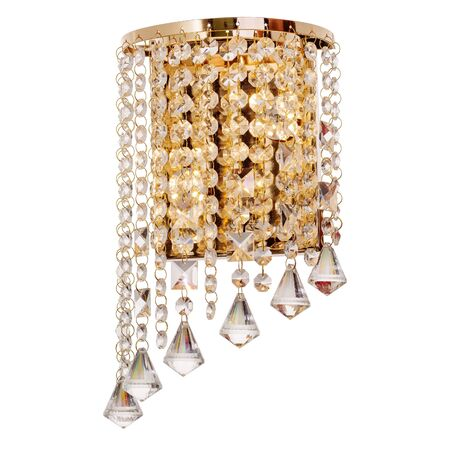 Sconce with LED lamps, made of golden metal with crystal pendants. Stylish wall lamp isolated on white background