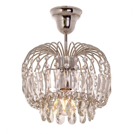A single-lamp chandelier made of shiny metal with crystal pendants. Stylish ceiling lamp isolated on white background