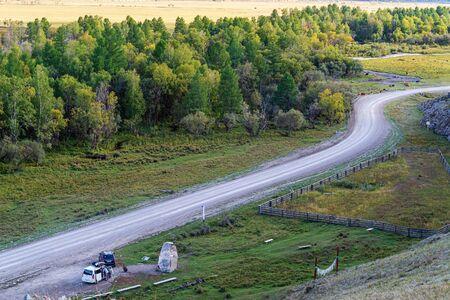 Road trip, stopover. Russia, mountain Altai, Ongudaysky district, the picture was taken near the village of Bichiktu-Boom Reklamní fotografie