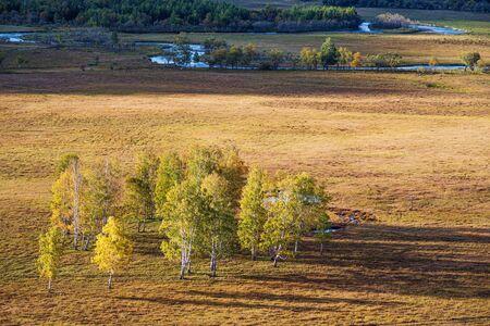 Rural autumn landscape with a river. Russia, Altai Mountains, Ongudaysky district, Uch Enmek Natural Park, Ursul River Reklamní fotografie