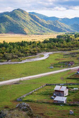 Autumn in a mountain valley. Russia, mountain Altai, Ongudai district, Karakol river valley, Bichiktu-Boom village