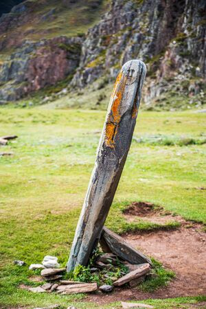 Ancient statue of Stone Warrior, Keser Tash. Photo taken at the Adyr-Kan shrine in the Altai mountains