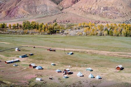 Old abandoned camp site in the valley of the Kyzylshin river. Kosh-Agachsky District, Altai Republic, Russia