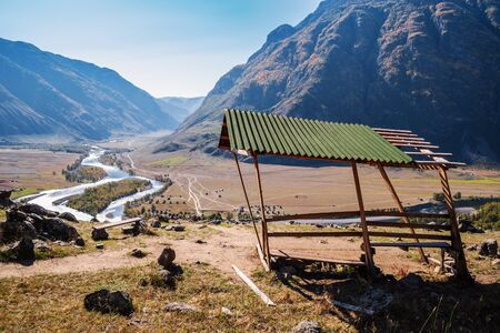 An observation deck overlooking the valley of a mountain river. Russia, Altai Republic, Ulagansky District, Chulyshman River, Akkrum tract 版權商用圖片