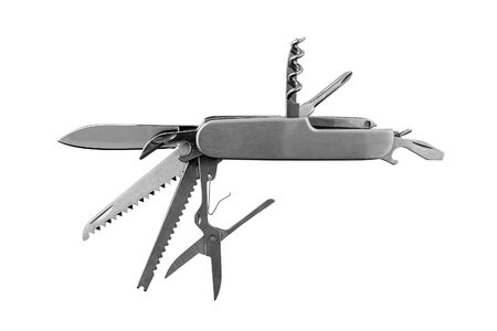 Camping folding multitool knife. Isolated on white background