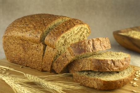 integral oven: Bread cut on a blurry background  horizontal