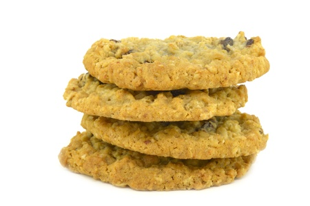 Oatmeal cookies with raisins on a white background photo