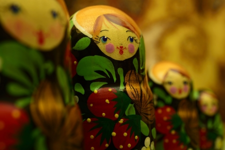 Russian dolls on blurry background photo