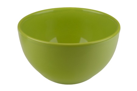 Green empty bowl isolated on white background photo