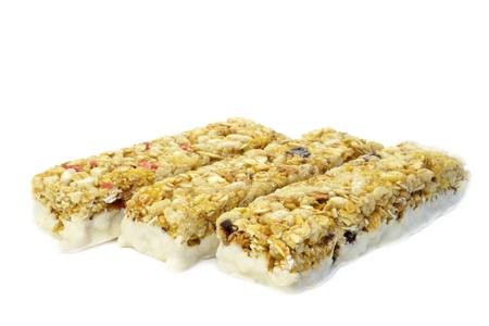 Granola bars on a white background photo