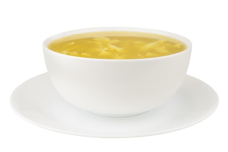 chicken soup: Noodle soup isolated on a white background