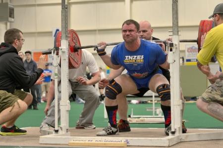 barbel: Canada May 25 2013 Powerlifting event - squat lift (Nova Scotia Powerlifting Provincials) Editorial