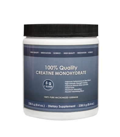 enhancing: Creatine Monohydrate powder isolated on a white background