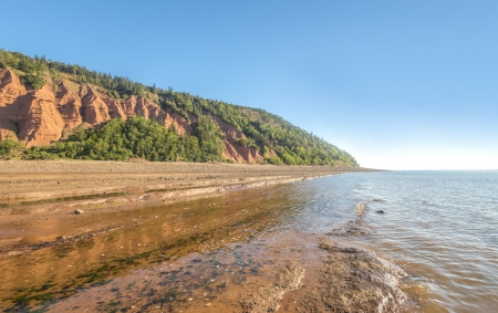Rocks of the Blomidon cliffs at low tide  Blomidon Provincial Park, Nova Scotia, Canada  photo