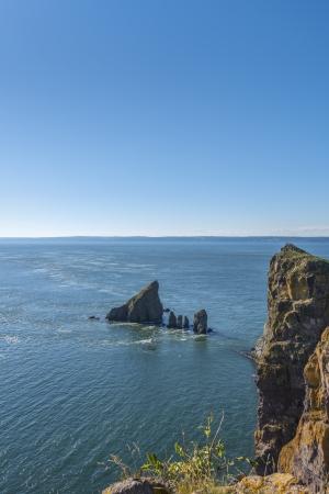 Cape Split cliffs and tidal current  Nova Scotia, Canada  Stock Photo