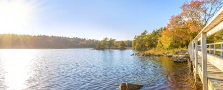 Fall foliage scene  Dollar Lake, Nova Scotia, Canada  photo
