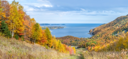 Panoramic view of Cabot Trail in the fall  Cape Breton, Nova Scotia, Canada