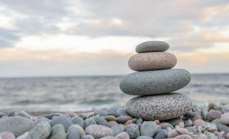philosophic: Small zen stone tower closeup