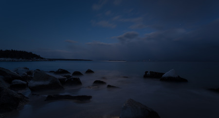 crescent: Panorama of night view of rocky coast  Crystal Crescent Beach, Nova Scotia, Canada