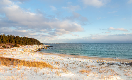 crescent: Ocean shore on a winter day (Crystal Crescent Beach, Nova Scotia, Canada)