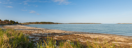 crescent: Panorama of  sandy beach   Crystal Crescent Beach, Nova Scotia, Canada  Stock Photo
