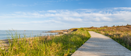 crescent: Panorama of wood path at the beach   Crystal Crescent Beach, Nova Scotia, Canada
