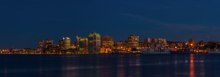 Panorama of Halifax Nova Scotia at night  taken from across the harbour in Dartmouth  photo