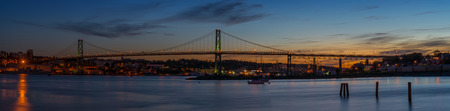 Panorama of Angus L  Macdonald Bridge that connects Halifax to Dartmouth  Nova Scotia, Canada