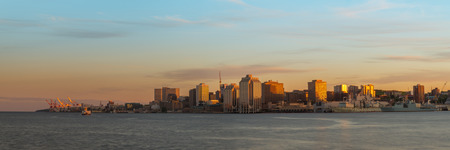 nova scotia: Panorama of Halifax Nova Scotia at sunset  taken from across the harbour in Dartmouth