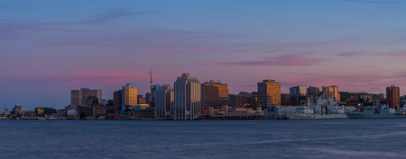 Panorama of Halifax Nova Scotia at sunset  taken from across the harbour in Dartmouth  photo