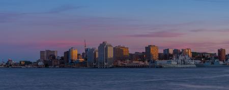 Nova Scotia: Panorama of Halifax Nova Scotia at sunset  taken from across the harbour in Dartmouth