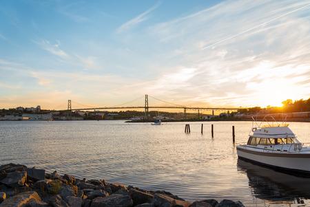 Nova Scotia: Angus L  Macdonald Bridge that connects Halifax to Dartmouth  Nova Scotia, Canada  Stock Photo