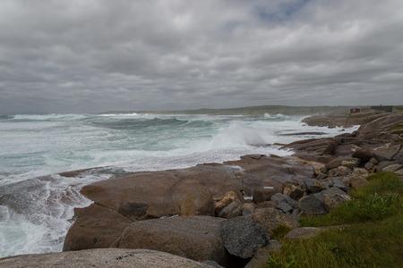 Ocean shore at storm  Nova Scotia, Canada  photo