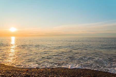 Ocean shore at sunrise in Cape Breton, Nova Scotia, Canada  Stock Photo