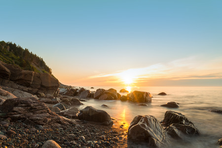Ocean shore at sunrise in Cape Breton, Nova Scotia, Canada  Stock fotó