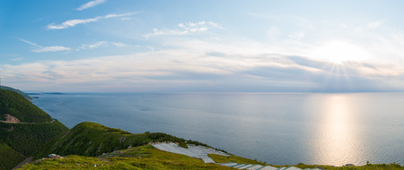 Panorama of Cabot Trail from Skyline Trail look-off in French Mountain, Cape Breton, Nova Scotia, Canada