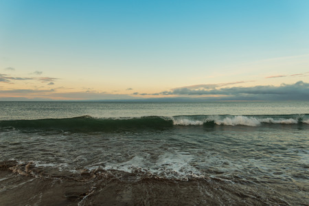 sunup: Ocean beach (Lawrencetown Beach, Nova Scotia, Canada) Stock Photo